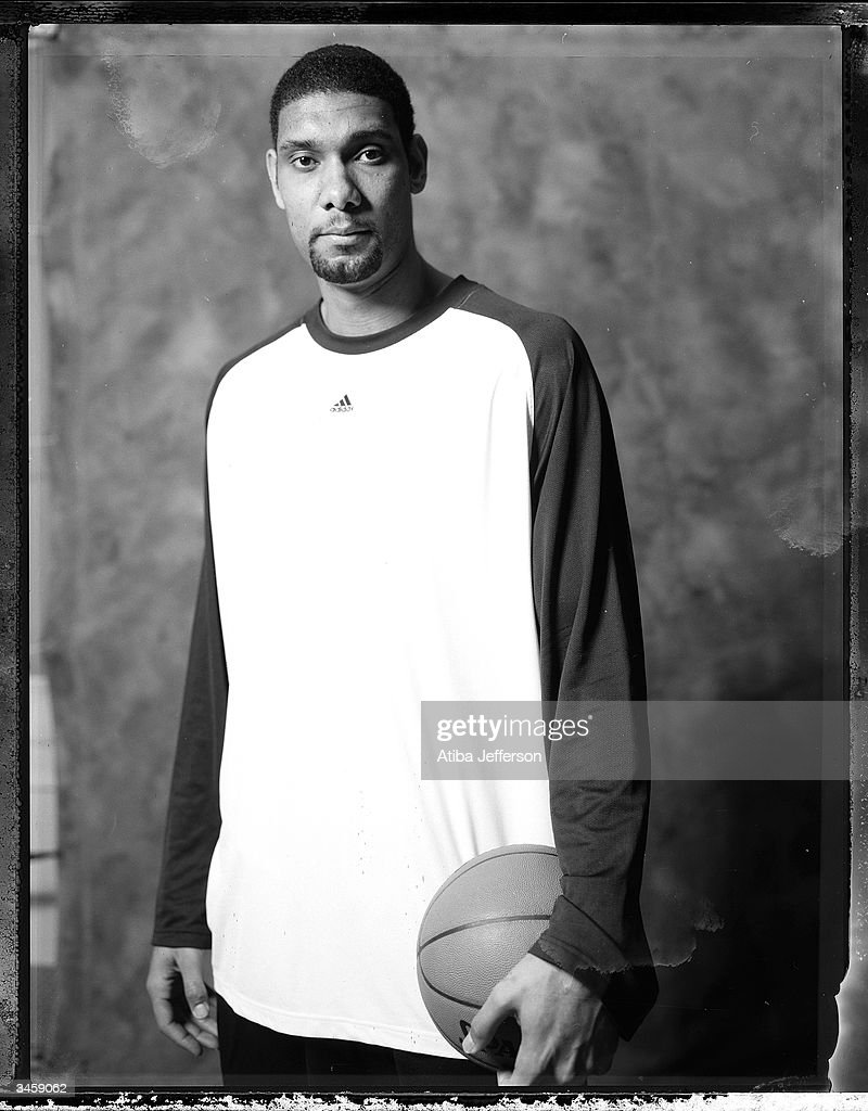 <a gi-track='captionPersonalityLinkClicked' href=/galleries/search?phrase=Tim+Duncan&family=editorial&specificpeople=201467 ng-click='$event.stopPropagation()'>Tim Duncan</a> of the San Antonio Spurs poses for a portrait during the 2004 NBA All-Star Weekend on February 13, 2004 in Los Angeles, California.