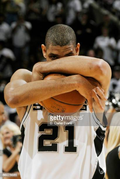 Tim Duncan of the San Antonio Spurs prepares himself for the game against the Dallas Mavericks in Game One of the Western Conference Quarterfinals...