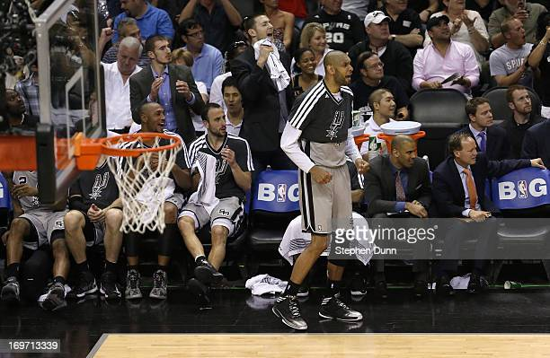 Tim Duncan of the San Antonio Spurs reacts against the Memphis Grizzlies during Game One of the Western Conference Finals of the 2013 NBA Playoffs at...