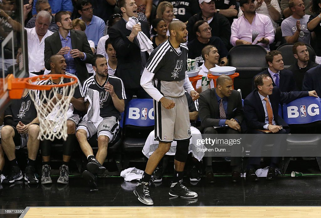 <a gi-track='captionPersonalityLinkClicked' href=/galleries/search?phrase=Tim+Duncan&family=editorial&specificpeople=201467 ng-click='$event.stopPropagation()'>Tim Duncan</a> #21 of the San Antonio Spurs reacts against the Memphis Grizzlies during Game One of the Western Conference Finals of the 2013 NBA Playoffs at AT&T Center on May 19, 2013 in San Antonio, Texas.