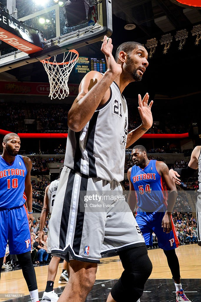 <a gi-track='captionPersonalityLinkClicked' href=/galleries/search?phrase=Tim+Duncan&family=editorial&specificpeople=201467 ng-click='$event.stopPropagation()'>Tim Duncan</a> #21 of the San Antonio Spurs reacts during a game against the Detroit Pistons on March 3, 2013 at the AT&T Center in San Antonio, Texas.