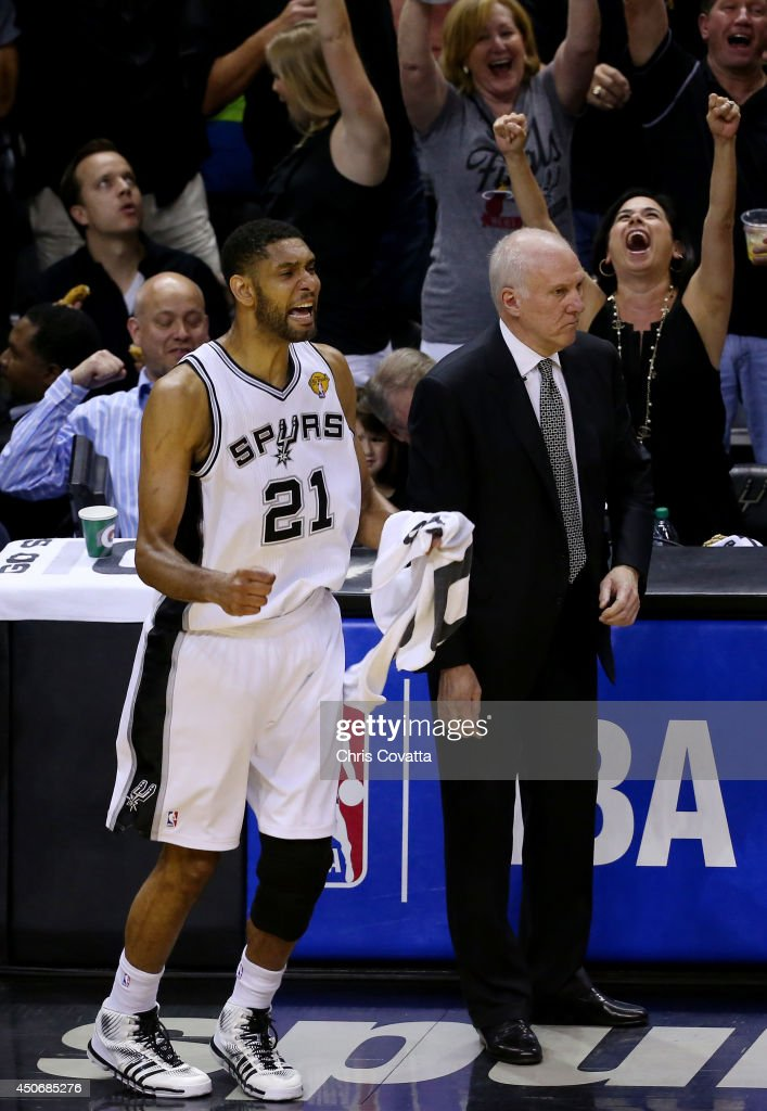 <a gi-track='captionPersonalityLinkClicked' href=/galleries/search?phrase=Tim+Duncan&family=editorial&specificpeople=201467 ng-click='$event.stopPropagation()'>Tim Duncan</a> #21 of the San Antonio Spurs reacts on the bench against the Miami Heat during Game Five of the 2014 NBA Finals at the AT&T Center on June 15, 2014 in San Antonio, Texas.