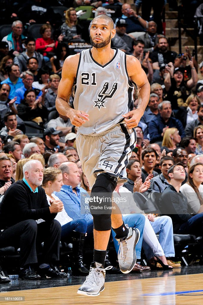 <a gi-track='captionPersonalityLinkClicked' href=/galleries/search?phrase=Tim+Duncan&family=editorial&specificpeople=201467 ng-click='$event.stopPropagation()'>Tim Duncan</a> #21 of the San Antonio Spurs runs up court while playing against the Los Angeles Lakers in Game Two of the Western Conference Quarterfinals during the 2013 NBA Playoffs on April 24, 2013 at the AT&T Center in San Antonio, Texas.