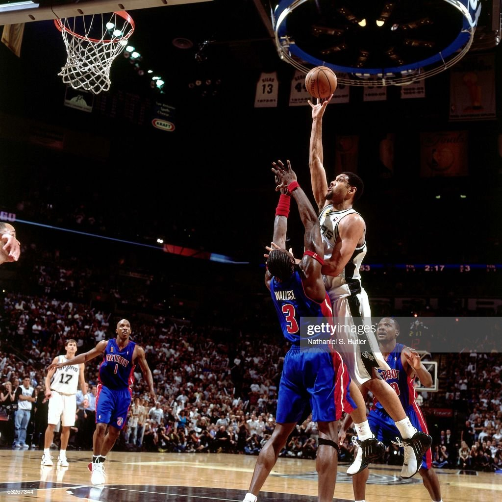 Tim Duncan #21 of the San Antonio Spurs shoots against Ben Wallace #3 of the Detroit Pistons in Game Seven of the 2005 NBA Finals June 23, 2005 at the SBC Center in San Antonio, Texas. The Spurs defeated the Pistons 81-74.