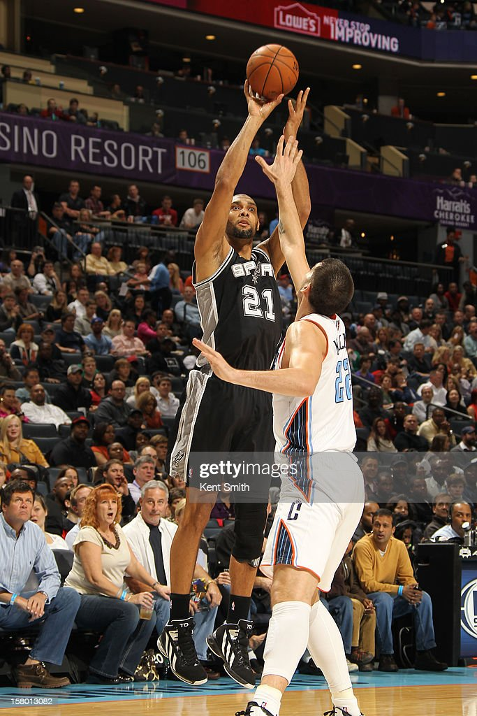 Tim Duncan #21 of the San Antonio Spurs shoots against Byron Mullens #22 of the Charlotte Bobcats at the Time Warner Cable Arena on December 8, 2012 in Charlotte, North Carolina.