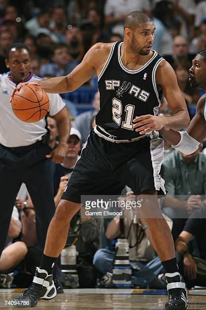 Tim Duncan of the San Antonio Spurs shoots against the Denver Nuggets in Game Four of the Western Conference Quarterfinals during the 2007 NBA...