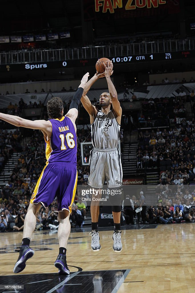 Tim Duncan #21 of the San Antonio Spurs shoots the ball against Pau Gasol #16 of the Los Angeles Lakers during the Game One of the Western Conference Quarterfinals between the Los Angeles Lakers and the San Antonio Spurs on April 21, 2013 at the AT&T Center in San Antonio, Texas.