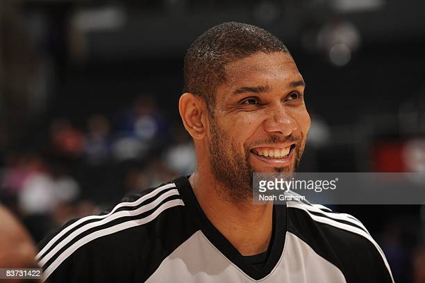 Tim Duncan of the San Antonio Spurs smiles during warmups prior to a game against the Los Angeles Clippers at Staples Center on November 17 2008 in...