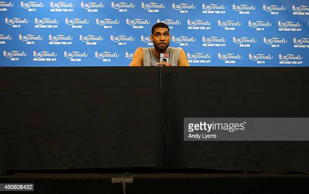 Tim Duncan of the San Antonio Spurs speaks to the media on an off day following Game Four of the 2014 NBA Finals against the Miami Heat at the Spurs...