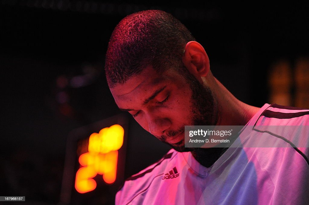 <a gi-track='captionPersonalityLinkClicked' href=/galleries/search?phrase=Tim+Duncan&family=editorial&specificpeople=201467 ng-click='$event.stopPropagation()'>Tim Duncan</a> #21 of the San Antonio Spurs stands on the court during the game against the Los Angeles Lakers at Staples Center on April 14, 2013 in Los Angeles, California.