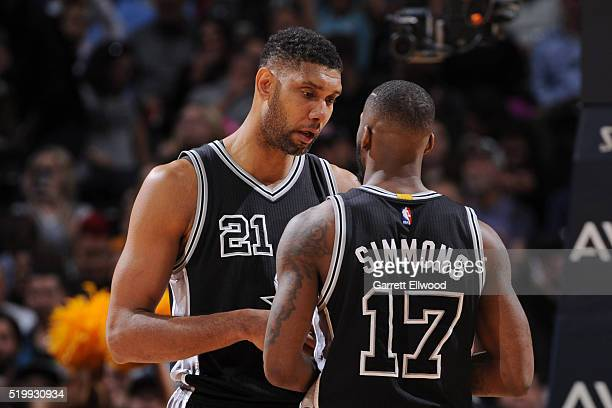 Tim Duncan of the San Antonio Spurs talks with Jonathon Simmons of the San Antonio Spurs during the game against the Denver Nuggets on April 8 2016...