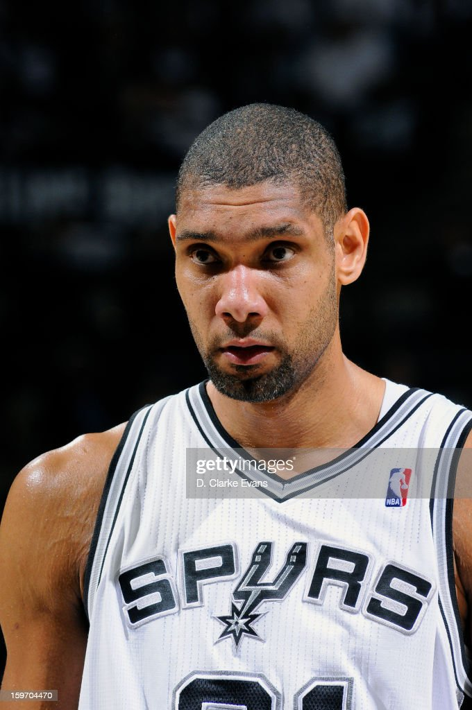 Tim Duncan #21 of the San Antonio Spurs waits to shoot a foul shot in a game against the Golden State Warriors on January 18, 2013 at the AT&T Center in San Antonio, Texas.