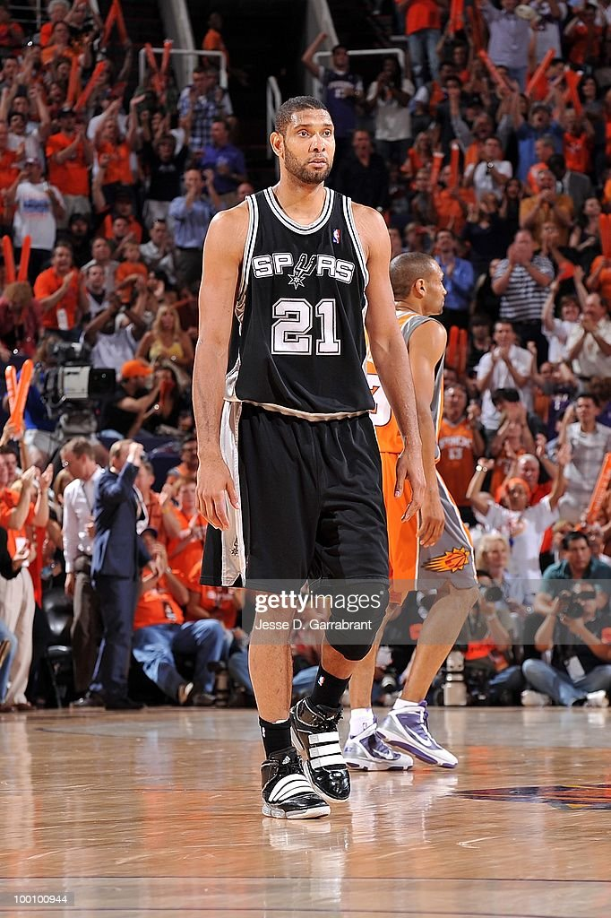 Tim Duncan #21 of the San Antonio Spurs walks on the court while taking on the Phoenix Suns in Game Two of the Western Conference Semifinals during the 2010 NBA Playoffs on May 5, 2010 at US Airways Center in Phoenix, Arizona. The Suns won 110-102.