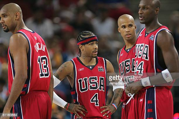 Tim Duncan of the United States Allen Iverson Richard Jefferson and Lamar Odom in the men's basketball preliminary game against Puerto Rico on August...