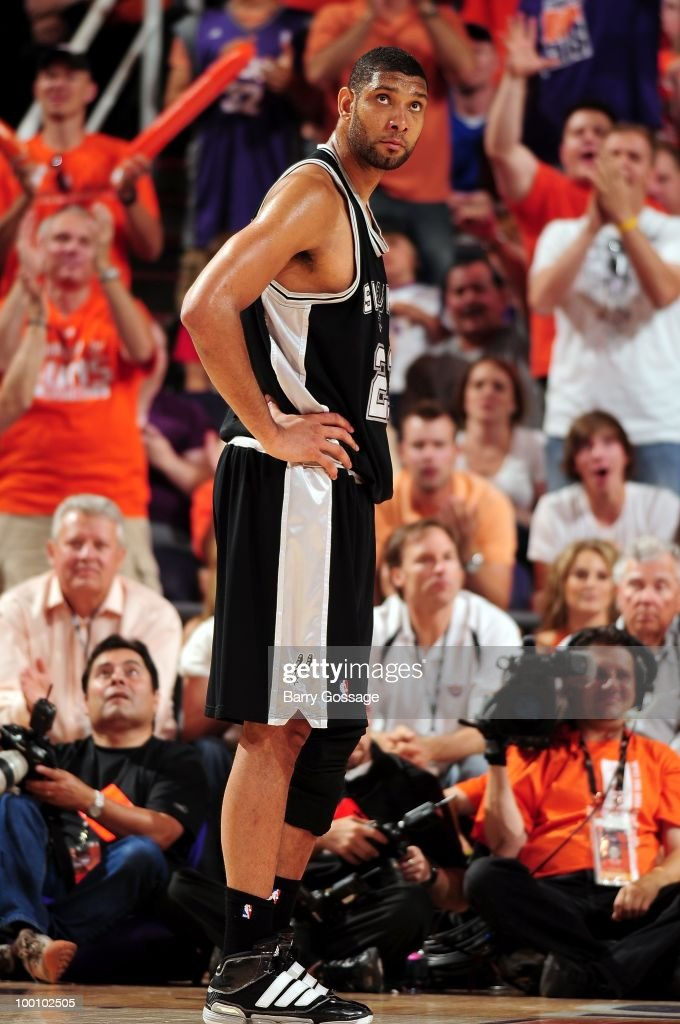 Tim Duncan #21 the San Antonio Spurs stands on the court while taking on the Phoenix Suns in Game Two of the Western Conference Semifinals during the 2010 NBA Playoffs on May 5, 2010 at US Airways Center in Phoenix, Arizona. The Suns won 110-102.