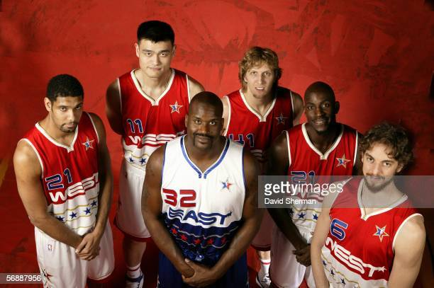 Tim Duncan Yao Ming Dirk Nowitzki Kevin Garnett and Pau Gasol of the Western Conference pose with Shaquille O'Neal of the Eastern Conference for a...