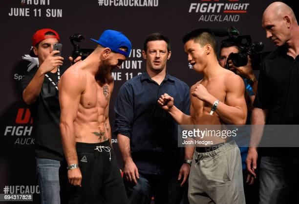 Tim Elliott of the United States and Ben Nguyen of the United States face off during the UFC Fight Night weighin at Spark Arena on June 10 2017 in...