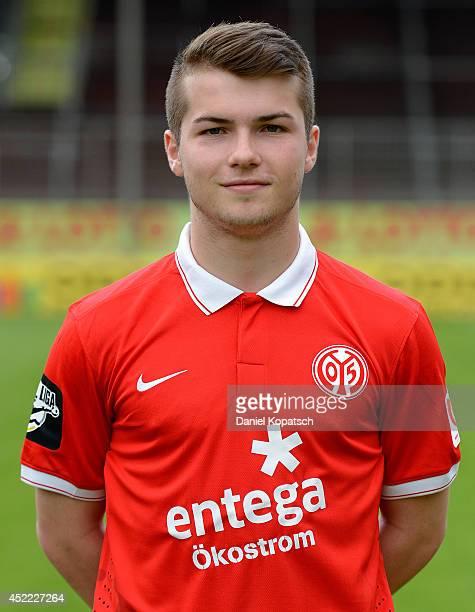 Tim Fahrenholz poses during the team presentation of 1 FSV Mainz 05 II at Bruchwegstadion on July 16 2014 in Mainz Germany