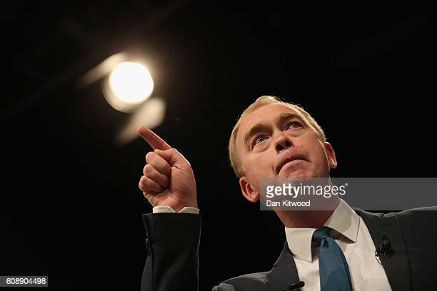 Tim Farron leader of the Liberal Democrats delivers a speech on the final day of the Liberal Democrats' 2016 Autumn Conference on September 20 2016...