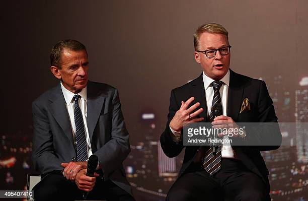 Tim Finchem and Keith Pelley address the assembled gathering during the HSBC Golf Sponsorship Renewal Announcement at the HSBC Golf Business Forum on...