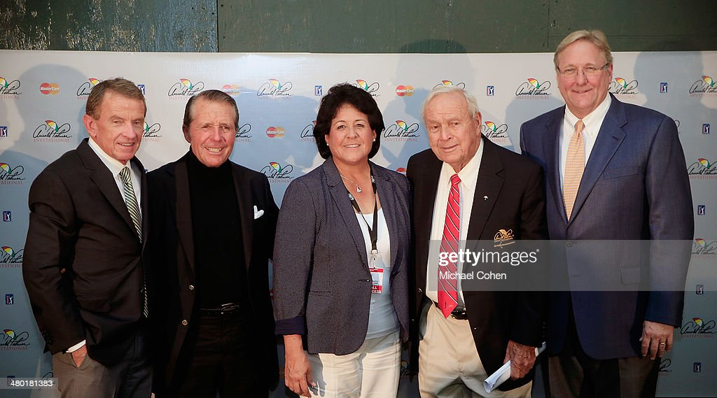 Tim Finchem, Commissioner of the PGA TOUR and Chairman of the World Golf Foundations Board of Directors, Gary Player, Nancy Lopez, Arnold Palmer, and Jack Peter, Chief Operating Officer of the World Golf Hall of Fame smile after a press conference held during the final round of the Arnold Palmer Invitational presented by MasterCard at the Bay Hill Club and Lodge on March 23, 2014 in Orlando, Florida. The press conference was held to announce changes to the process for enshrinement at the World Golf Hall of Fame & Museum.