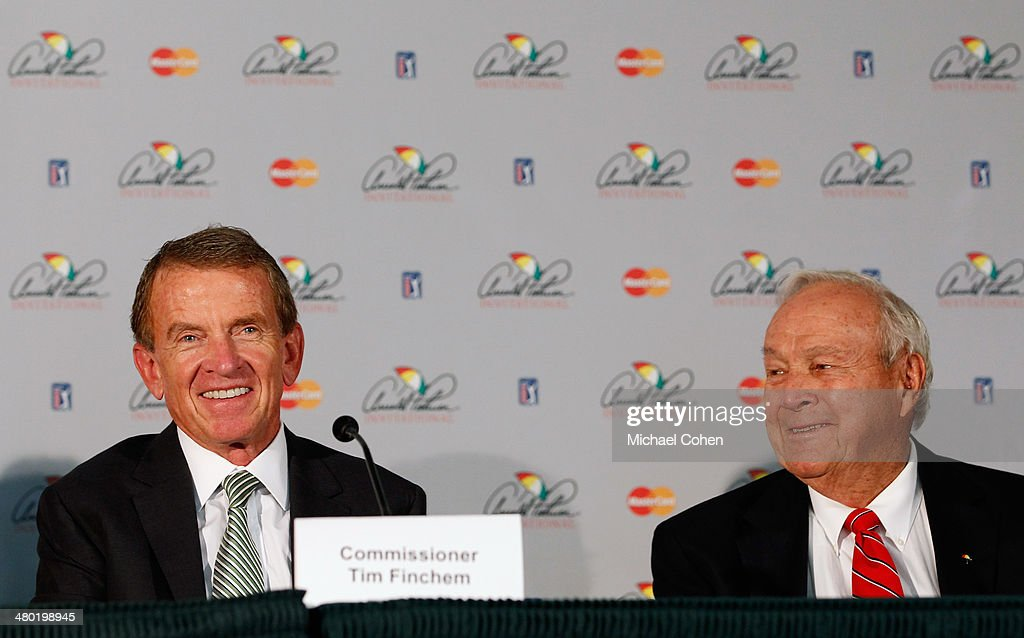 Tim Finchem, Commissioner of the PGA TOUR and Chairman of the World Golf Foundations Board of Directors, and Arnold Palmer talk to the media during a press conference held during the final round of the Arnold Palmer Invitational presented by MasterCard at the Bay Hill Club and Lodge on March 23, 2014 in Orlando, Florida. The press conference was held to announce changes to the process for enshrinement at the World Golf Hall of Fame & Museum.