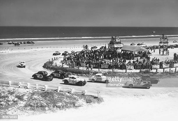 Tim Flock won the '56 beach modifiedsportsman race at Daytona Also shown here are Joe Lee Johnson Bunk Moore Spud Murphy Terry Flynn and Speedy...