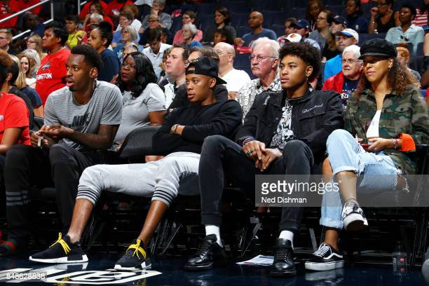 Tim Frazier and Kelly Oubre Jr of the Washington Wizards are seen at the game between the Washington Mystics and the Minnesota Lynx in Game Three of...