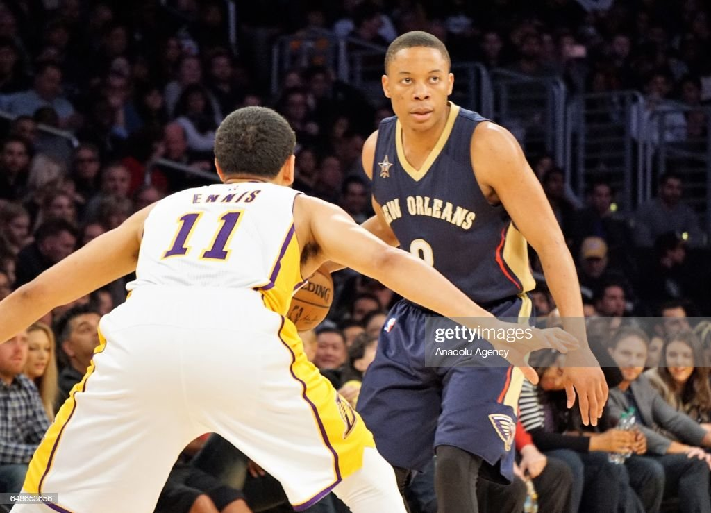 Tim Frazier (R) of New Orleans Pelicans in action during the NBA basketball match between Los Angeles Lakers and New Orleans Pelicans on March 5, 2017 at STAPLES Center in Los Angeles, California, United States.