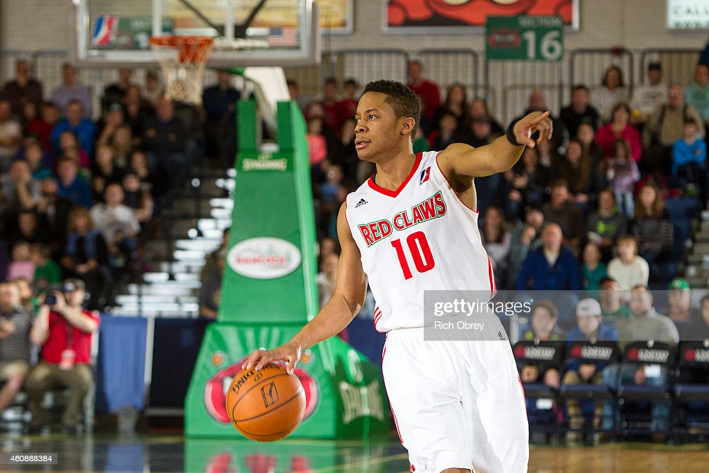 <a gi-track='captionPersonalityLinkClicked' href=/galleries/search?phrase=Tim+Frazier&family=editorial&specificpeople=6526834 ng-click='$event.stopPropagation()'>Tim Frazier</a> #10 of the Maine Red Claws directs the offense against the Canton Charge on December 28, 2014 at the Portland Expo in Portland, Maine.