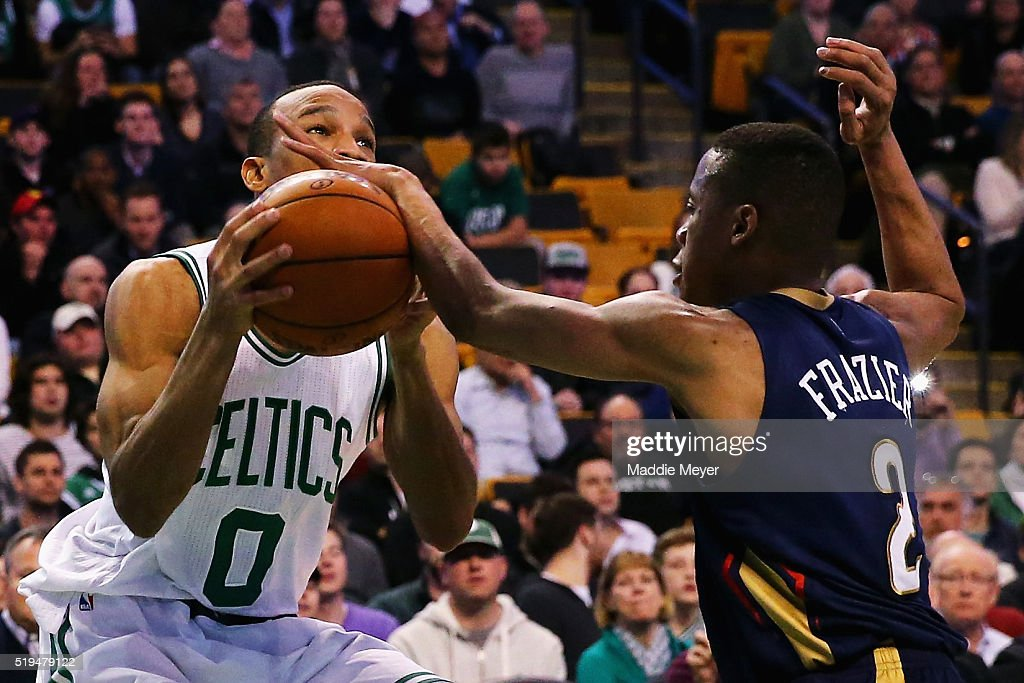 <a gi-track='captionPersonalityLinkClicked' href=/galleries/search?phrase=Tim+Frazier&family=editorial&specificpeople=6526834 ng-click='$event.stopPropagation()'>Tim Frazier</a> #2 of the New Orleans Pelicans blocks a shot by <a gi-track='captionPersonalityLinkClicked' href=/galleries/search?phrase=Avery+Bradley&family=editorial&specificpeople=5792051 ng-click='$event.stopPropagation()'>Avery Bradley</a> #0 of the Boston Celtics during the fourth quarter at TD Garden on April 6, 2016 in Boston, Massachusetts. The Celtics defeat the Pelicans 104-97.