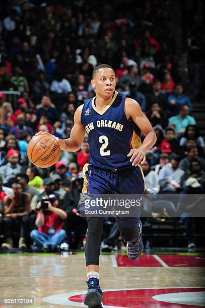 Tim Frazier of the New Orleans Pelicans brings the ball up court against the Atlanta Hawks during the game on November 22 2016 at Philips Arena in...