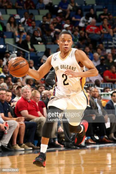 Tim Frazier of the New Orleans Pelicans brings the ball up court during the game against the Dallas Mavericks on March 29 2017 at the Smoothie King...