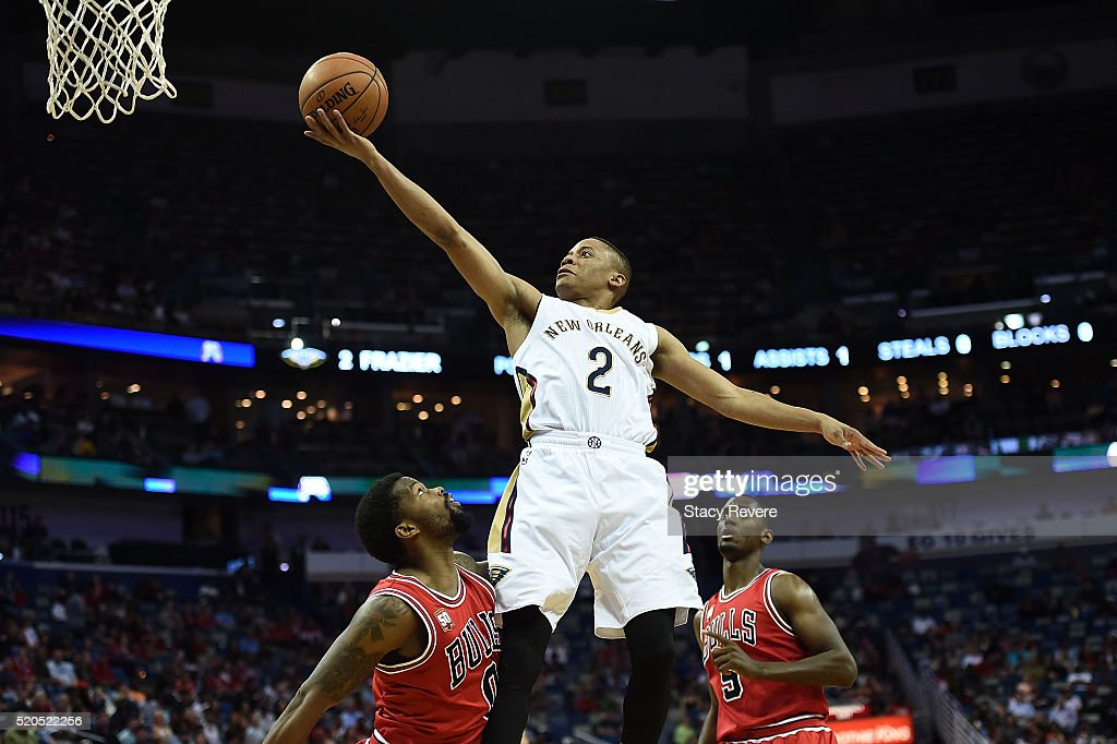 <a gi-track='captionPersonalityLinkClicked' href=/galleries/search?phrase=Tim+Frazier&family=editorial&specificpeople=6526834 ng-click='$event.stopPropagation()'>Tim Frazier</a> #2 of the New Orleans Pelicans drives to the basket against <a gi-track='captionPersonalityLinkClicked' href=/galleries/search?phrase=Aaron+Brooks+-+Basketball+Player&family=editorial&specificpeople=7133652 ng-click='$event.stopPropagation()'>Aaron Brooks</a> #0 of the Chicago Bulls during the first half of a game at the Smoothie King Center on April 11, 2016 in New Orleans, Louisiana.