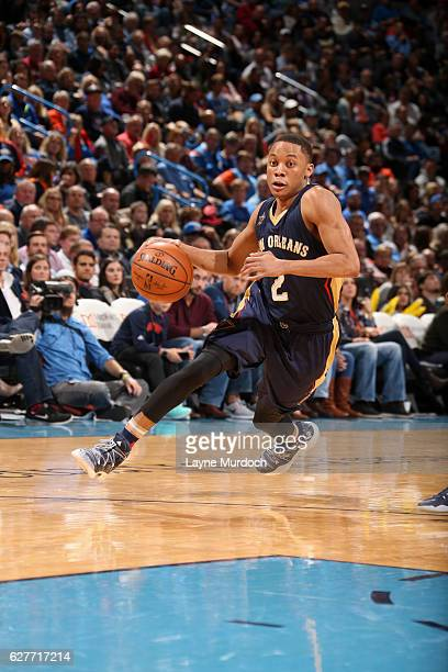 Tim Frazier of the New Orleans Pelicans handles the ball against the Oklahoma City Thunder on December 4 2016 at Chesapeake Energy Arena in Oklahoma...