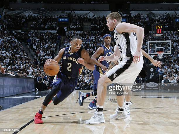 Tim Frazier of the New Orleans Pelicans handles the ball against the San Antonio Spurs on December 18 2016 at the ATT Center in San Antonio Texas...