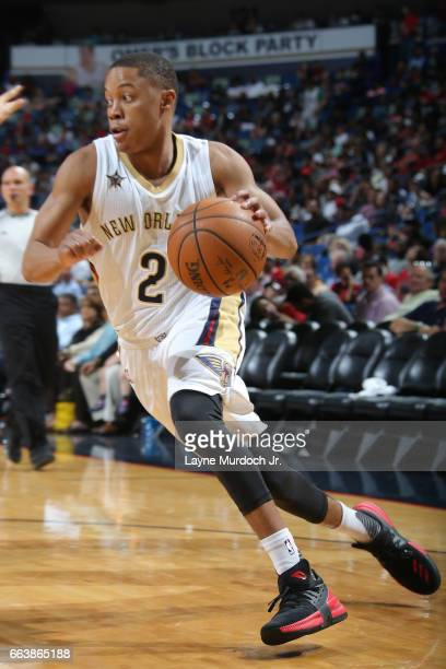 Tim Frazier of the New Orleans Pelicans handles the ball against the Chicago Bulls on April 2 2017 at Smoothie King Center in New Orleans Louisiana...