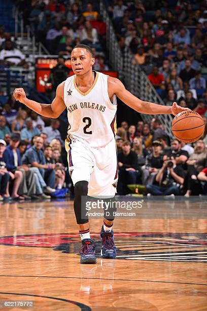 Tim Frazier of the New Orleans Pelicans handles the ball during a game against the Golden State Warriors at Smoothie King Center on October 28 2016...