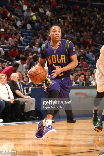 Tim Frazier of the New Orleans Pelicans handles the ball during a game against the Utah Jazz on February 8 2017 at Smoothie King Center in New...