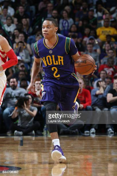 Tim Frazier of the New Orleans Pelicans handles the ball during a game against the Houston Rockets on February 23 2017 at Smoothie King Center in New...