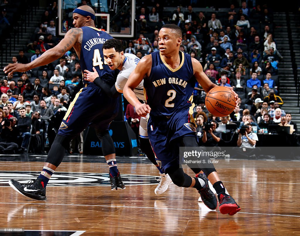 <a gi-track='captionPersonalityLinkClicked' href=/galleries/search?phrase=Tim+Frazier&family=editorial&specificpeople=6526834 ng-click='$event.stopPropagation()'>Tim Frazier</a> #2 of the New Orleans Pelicans handles the ball during the game against the Brooklyn Nets on April 3, 2016 at Barclays Center in Brooklyn, New York.