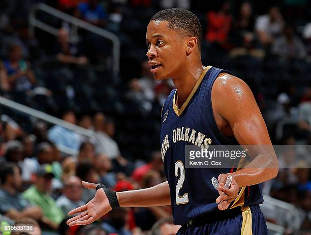 Tim Frazier of the New Orleans Pelicans reacts after being charged with a technical foul during the game against the Atlanta Hawks at Philips Arena...
