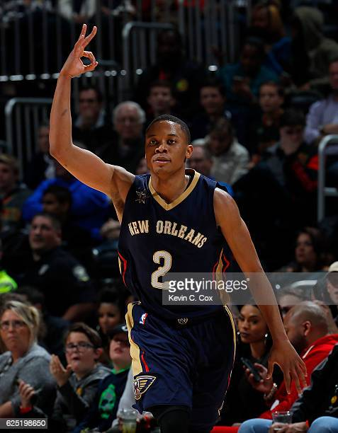 Tim Frazier of the New Orleans Pelicans reacts after hitting a threepoint basket against the Atlanta Hawks at Philips Arena on November 22 2016 in...