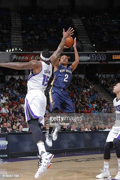 Tim Frazier of the New Orleans Pelicans shoots the ball against the Sacramento Kings on March 16 2016 at Sleep Train Arena in Sacramento California...