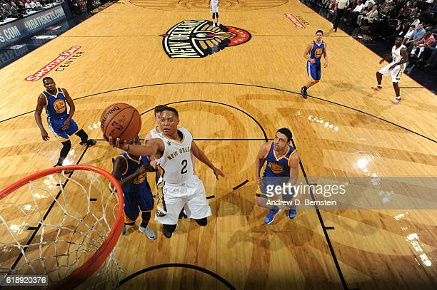 Tim Frazier of the New Orleans Pelicans shoots the ball against the Golden State Warriors during the game on October 28 2016 at the Smoothie King...
