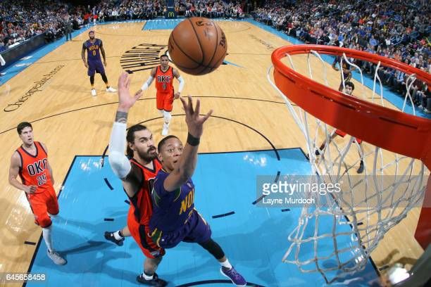 Tim Frazier of the New Orleans Pelicans shoots the ball against the Oklahoma City Thunder on February 26 2017 at the Chesapeake Energy Arena in...