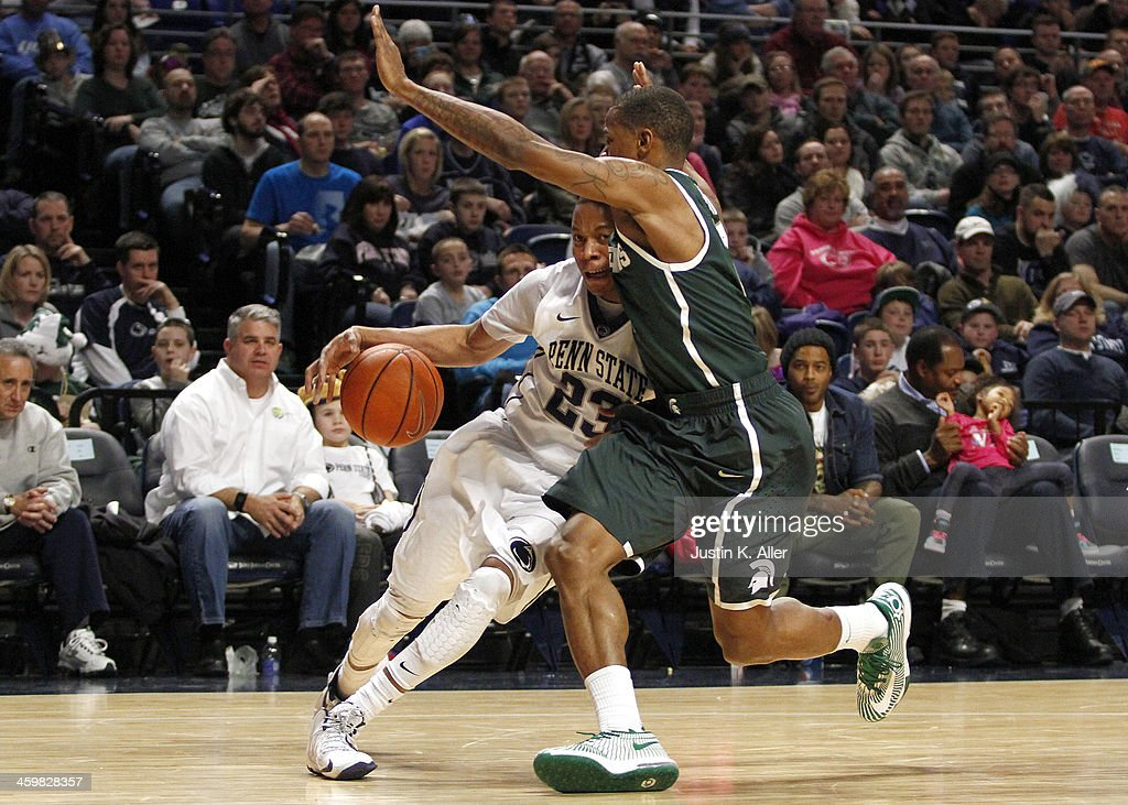 Tim Frazier #23 of the Penn State Nittany Lions drives to the basket against the Michigan State Spartans at the Bryce Jordan Center on December 31, 2013 in State College, Pennsylvania.