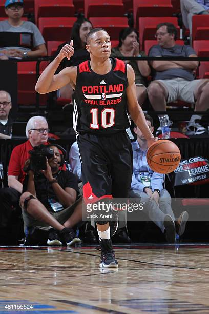 Tim Frazier of the Portland Trail Blazers dribbles the ball against the Toronto Raptors on July 17 2015 at the Thomas Mack Center in Las Vegas Nevada...