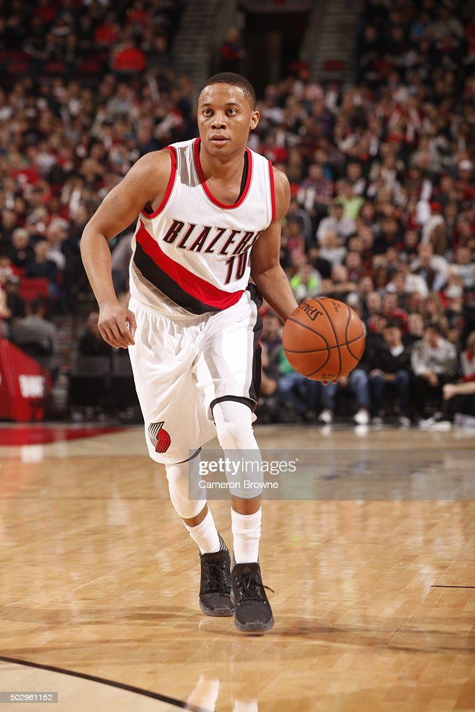 <a gi-track='captionPersonalityLinkClicked' href=/galleries/search?phrase=Tim+Frazier&family=editorial&specificpeople=6526834 ng-click='$event.stopPropagation()'>Tim Frazier</a> #10 of the Portland Trail Blazers dribbles the ball against the Denver Nuggets on December 30, 2015 at the Moda Center in Portland, Oregon.