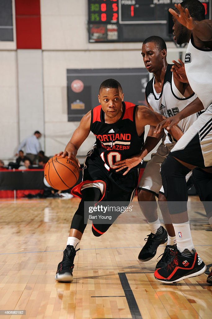 <a gi-track='captionPersonalityLinkClicked' href=/galleries/search?phrase=Tim+Frazier&family=editorial&specificpeople=6526834 ng-click='$event.stopPropagation()'>Tim Frazier</a> #10 of the Portland Trail Blazers drives against the San Antonio Spurs on July 14, 2015 at The Cox Pavilion in Las Vegas, Nevada.